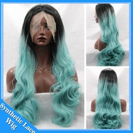 Wholesale Green Wavy Long Synthetic Wig - Light Green Wig Ombre Synthetic Lace Front Wig Two Tone Ombre Long Body Wavy Blue Synthetic Wig Heat Resistant Wigs For Black Women