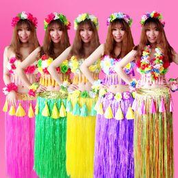 2019 traje hawaiano de hula 6 Unids / set Fibras de Plástico de Moda Mujeres Faldas de Hierba Falda Hula Disfraces Hawaianos 80 CM Señoras Visten Fiesta Festivo Suministros traje hawaiano de hula baratos