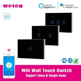 Wifi Wall Touch Switch 1 2 3 Gang Pannello a parete Interruttore a parete Interruttore Ewelink APP Supporto Alexa Google Home US 220V Nero Smart da interruttore a parete della banda nera fornitori