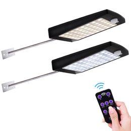 2019 luci impermeabili esterne Solar Lights Outdoor 48 LED 3 modalità Sensore di movimento Applique solare con telecomando Impermeabile Lampada di sicurezza per il giardino di strada sconti luci impermeabili esterne