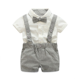 Wholesale Toddler Boys Party Clothes - Baby Boy Sets Formal Toddler Clothes Fashion Tie + Short Shirt + Overalls Boys Clothing Summer Boy Party Birthday Costume Suit 0-24M