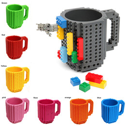 Wholesale Block - Build-On Brick Mug Building Blocks Mugs DIY Block Puzzle Mug Build-On Brick creative Mug Coffee Cup 350ML Creative decompression cups