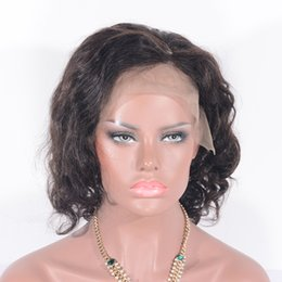 Wholesale Long Bob Cut Wigs - Glueless Virgin Brazilian Wavy Short Cut Human Hair Lace Front Wigs Full Lace Wigs For Black Women Bob Style wig Free shipping