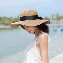 bccf4d34c37 summer female hat straw hat with handmade weave Sun For Women Black Ribbon  Lace Up Large Brim Straw Outdoor Beach Caps