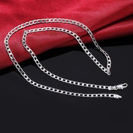Wholesale nobles chains - 16-30inch wholesale price Silver Plated 4MM Flat men women chain unique cute nice noble hot Valentine gifts fashion wedding necklace jewelry