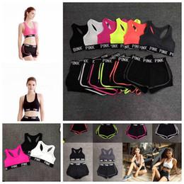 Wholesale Girls Spandex Underwear - Summer Women Pink Bra Set Underwear Women Crop Bra Shorts Fitness Suits Sports Yoga Vest Short Sets 6 Colors OOA4332