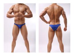 Bikini men beach en Ligne-Summer Sexy Bikini Brief Sous-vêtements hommes Bikini Brief Maillots de bain Sous-vêtements de plage Wear Black Plus Size M-XL