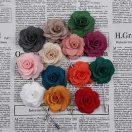 Wholesale christmas camellia - 4CM Handmade Lapel Flower Men Women Camellia Boutonniere Stick Brooch Pin Wedding Party Suit Fashion Accessories A556