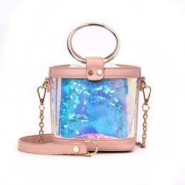 Wholesale Fire Plains - Summer small bag female 2018 new ins super transparent laser fire small round package chic chain