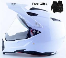 2019 guantes de carretera Envío gratis color blanco casco Motocicleta AX DOT Proetctor Motocross Off-road Cascos con lente + Guantes regalo S M L XL XXL rebajas guantes de carretera