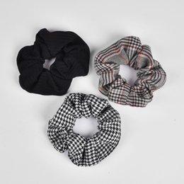 Portatarjetas vintage online-Nuevo Arrial Vintage negro blanco comprobar Ponytail Holder Scrunchies anillo elástico del pelo empate para mujer niña accesorios para el cabello