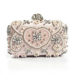 Wholesale Handmade Bags Purses - Luxury Crystal Evening Bag Handmade Style Rhinestones Pearl Women Evening Bags Vintage Satin Lady Party Wedding Clutches Purses