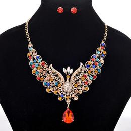 royal china jewelry Rabatt 6 Farben funkelnde Pfau Halskette Ohrring Sets - Retro Royal Style Frauen Luxus Schmuck Halsketten Set für Hochzeit Braut