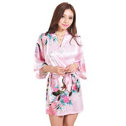 Kimonos de seda japoneses online-Mujeres Sexy Pijamas Seda japonesa Kimono Bata suelta Peacock Albornoz Camisón Ropa de dormir Flor rota Kimono Ropa interior (S-XXL)