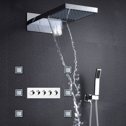 Wholesale luxury shower accessories - Luxury Shower Panel with Waterfall Shower Head Bathroom Accessories 304ss Rain Shower Faucet Set 6pcs Body Jets