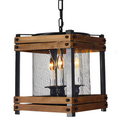 Wholesale Pendant Metal Shade - Retro Rustic Pendant Light, 3-Light Square Metal and Wood Lantern Pendant with Metal Mesh Shade Industrial caged Hanging Lamp Adjustable Bl