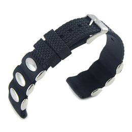 pino da faixa de relógio 24mm Desconto Hot Rubber Watch Bandas Strap 20mm 22mm 24mm Aço Inoxidável Pin Fivela Pulseira de Silicone Cor Preta Ligação Pulseira de Pulso