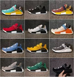 Wholesale orange canvas art - facotory new products Human Race trail Running Shoes Mens Women's Pharrell Williams x Holi Blank Canvas sports shoes online sale