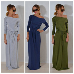 Wholesale plain long sleeve dress - Women Boho Long Sleeve Maxi Dress Ladies Plain Solid Summer Beach Party Evening Belt Dress Sundress 3 Colors OOA4037