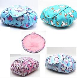 Косметика для чемоданов онлайн-Ленивый косметический мешок Единорог животных печатает водонепроницаемый макияж чемодан шнурок мыть макияж организатор сумка для хранения LJJK988