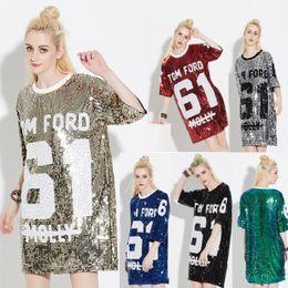 Tops de lantejoulas para o natal on-line-Woman Club Dresses 2018 Sequin T Shirt Dress Plus Size Loose Tee Shirts Glitter Tops Christmas Dress Women Fashion Free Shipping