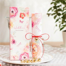 Wholesale Invitation For Engagement - Scroll Wedding Invitations 2017 Pink Floral Invitation Cards for Engagement Free Printing Inner Sheet+Bell