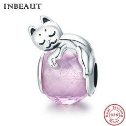 f0468080443d encantos pandora lindo Rebajas INBEAUT 925 Sterling Silver Pink Enamel Cute  Sleepy Dreaming Pequeño gato Charm