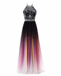 vintage summer dress designs Promo Codes - 2019 Sexy Halter Neck A-line Gradient Color Prom Dresses Beaded Sheer Neck Lace Up Pluning Back Design Women Evening Dress Waist Beaded Sash