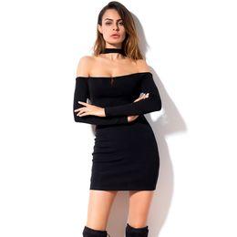Wholesale Night Apparel - 2018 Apparel Sexy Backless Mini Dress Women Bodycon Black Off Shoulder Long Sleeve Dresses Strapless Party Vestidos LQM015