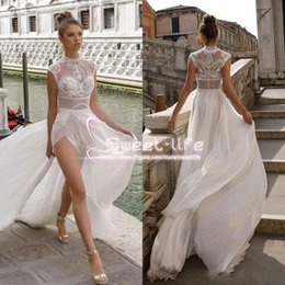 Wholesale Sheer Thigh Highs - Julie Vino 2018 High Slits Wedding Dresses Bohemia Sexy Lace Appliqued A Line Beach Illusion Side Split Custom Made Bridal Gowns