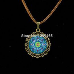 Wholesale Tile Necklaces - whole saleVintage Krishna Mediterranean tile pattern jewelry Latest Buddhism Mandala Jewelry Retro ethnic style Leather Necklace L 290