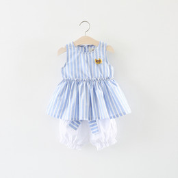 Wholesale Vertical Stripe Shorts - New Style Simple Vertical Stripe Bow Summer Baby Sets With Short Pants Trunks Girl Clothes Suit Pink Girls Clothing Sets