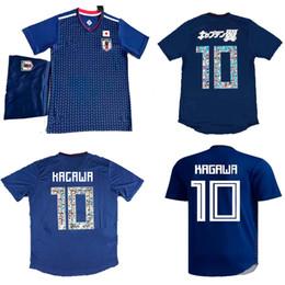Wholesale Men S Home Pants - Tsubasa Soccer Jersey Shorts Japan Home Blue Soccer Uniform 18 19 OKAZAKI KAGAWA Football Shirts Pants 2018 Japan World Cup Soccer Suits