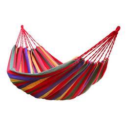 cores hammock atacado Desconto 190 cm x 80 cm Portátil Ao Ar Livre Piquenique Jardim Hammock Pendurar Cama de Viagem de Acampamento Swing Stripe Canvas Mat 120 kg 3 pçs / lote