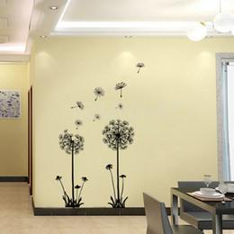 Vinilo de pared de vinilo de diente de león online-70 * 50 cm Decoración Dandelion Flower Extraíble Habitación Habitación Mural Vinilo Etiqueta de La Pared Decal