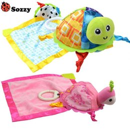 Wholesale Cute Turtle Plush - Wholesale- Sozzy baby soft plush towel cute little turtle toys early education development toy for children handkerchief