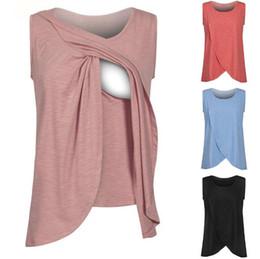 Ropa para amamantar online-Cuidado de la lactancia sin mangas para mujeres embarazadas grandes Camisetas sin mangas de lactancia Chaleco de lactancia Ropa Mujeres embarazadas Camisas de enfermería FFA012