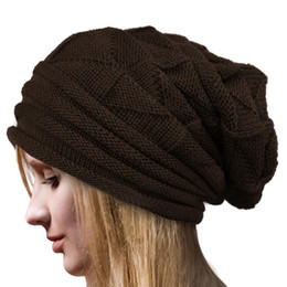 knit hat styles Promo Codes - Style European Autumn Winter Fashion Unisex Knit Crochet Solid Warm Baggy Beanie Hat Oversized Slouch Cap