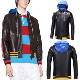 Wholesale Striped Leather Jackets Men - Blue Detachable Hood Leather Bomber Black Jacket Men's Striped Sleeves Simple Style Full Zip Short Coat