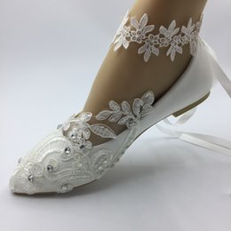 heels flat feet Promo Codes - NEW Handmade Women white Foot FLOWER ribbon Wedding shoes ballet lace flower Bridal Bridesmaid shoes size EU 35-41