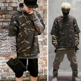 Wholesale Winter Tracksuit Men - 2017 New Autumn Winter Gray Mens Hoodie Skateboard Sweartshirt Pullover brand clothing tracksuit men Camouflage Black Hip Hop Hoodie