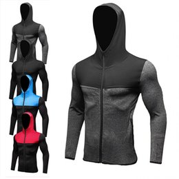 Wholesale Gym Corset - 2018 New Mens Running Jackets Fitness Sports Coat Soccer outdoor Training Gym corset hooded Thin Quick Dry Reflective zipper Hooded Jackets