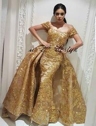 Wholesale Chiffon Pleated Skirt Short Long - 2018 Yousef Aljasmi Evening Dresses With Detachable Skirt Lace Applique Sequin Gold Prom Dress Party Wear Floor Length Dubai Arabic Occasion