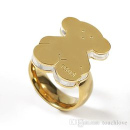 Wholesale Rings For Mothers - 2017 Stainless Steel Gold Plated Bear Ring 4 Sizes High Quality For Women Never Fade Cute