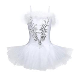 Wholesale Dancer Dresses Girls - Girls Sequined Beads Swan Ballet Dance Costume Leotard Tutu Dress with Gloves Hair Clip Flower Ballet Dancer Leotard Tutu Dress FZ003