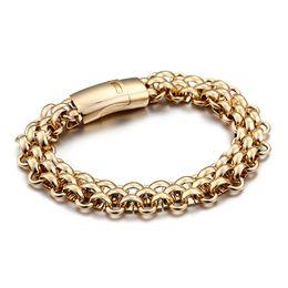 Braccialetto in acciaio inossidabile moda vintage in oro con fibbia in oro e argento da