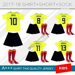 Wholesale shirt boy yellow - 2018 WORLD CUP Colombia JAMES Thai Football jersey kids kit SOCK youth children yellow FALCAO CUADRAD AGUILAR Soccer shirt