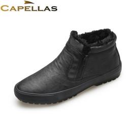 Wholesale Men S Ankle Shoes - CAPELLAS New Men`s Fashion Brand Leather Winter Boots for Men Snow Boots Mens Warm Plush Fur Botas Man Shoes Size 39-44