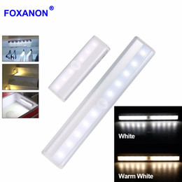 Wholesale Ir Light Bar - Motion Sensor LED Cabinet Light 10leds LED Night Light Wireless bar Lamp With IR Motion Detector For Cabinet Bookcase
