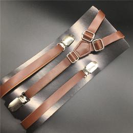 Suspensórios on-line-120 cm de couro magro suspender y volta clipe em homens / mulheres pu suspender moda factory outlet padrão marrom